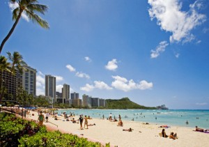 Sunny day at Waikiki beach on Oahu, Hawaii